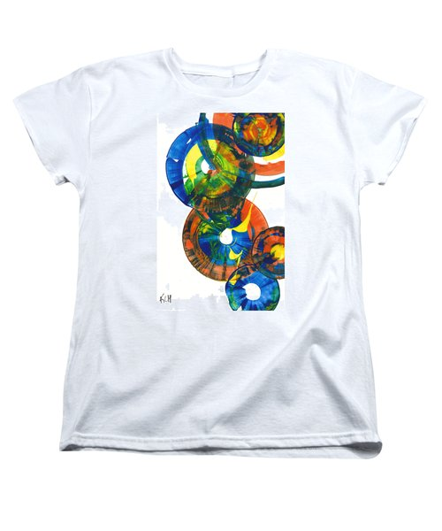 Women's T-Shirt (Standard Cut) featuring the painting My Spherical Joy '' Jump Up ''  858.121711 by Kris Haas