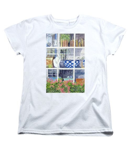 Women's T-Shirt (Standard Cut) featuring the painting Nantucket Shop-lecherche Midi by Carol Flagg