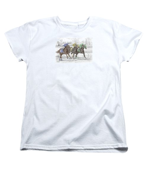 Women's T-Shirt (Standard Cut) featuring the drawing Neck And Neck - Horse Race Print Color Tinted by Kelli Swan