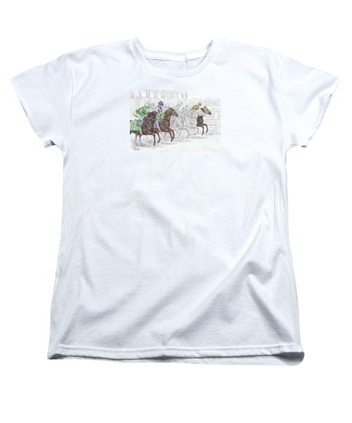 Women's T-Shirt (Standard Cut) featuring the drawing Odds Are - Tb Horse Racing Print Color Tinted by Kelli Swan