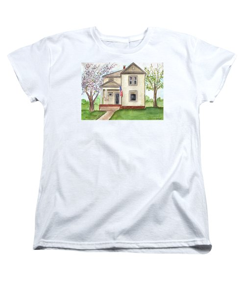 Women's T-Shirt (Standard Cut) featuring the painting Ohio Cottage With Flag by Clara Sue Beym