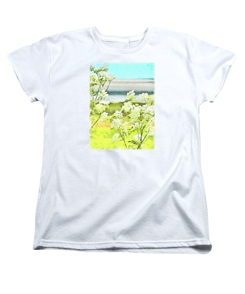 Women's T-Shirt (Standard Cut) featuring the digital art On The Mudflats Of Pegwell Bay by Steve Taylor