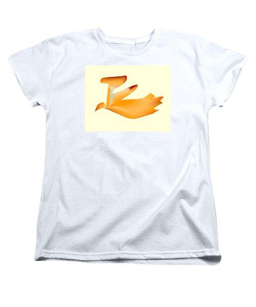 Orange Jetpack Penguin Women's T-Shirt (Standard Cut) by Kevin McLaughlin