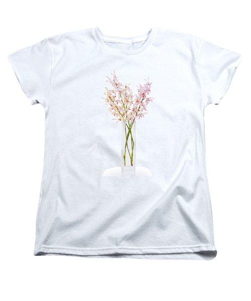 Pink Orchid In Vase Women's T-Shirt (Standard Cut) by Atiketta Sangasaeng