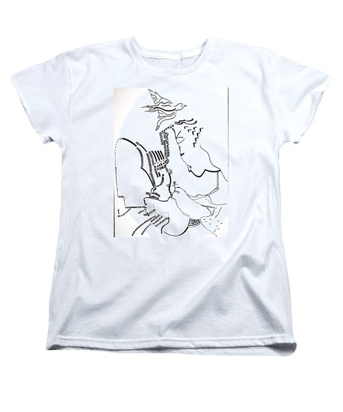 Women's T-Shirt (Standard Cut) featuring the drawing Presentation Of Jesus In The Temple by Gloria Ssali