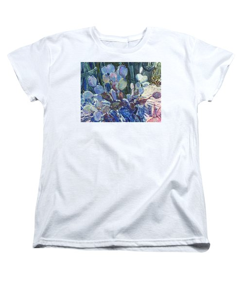 Women's T-Shirt (Standard Cut) featuring the painting Purple Opuntia by Donald Maier