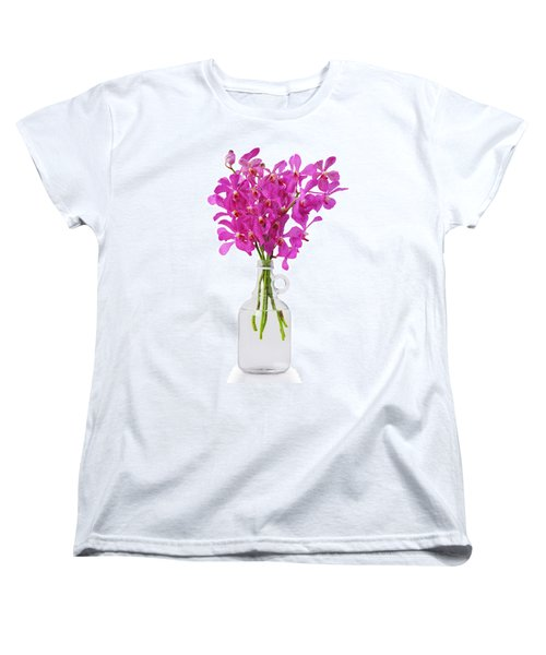 Purple Orchid In Bottle Women's T-Shirt (Standard Cut) by Atiketta Sangasaeng