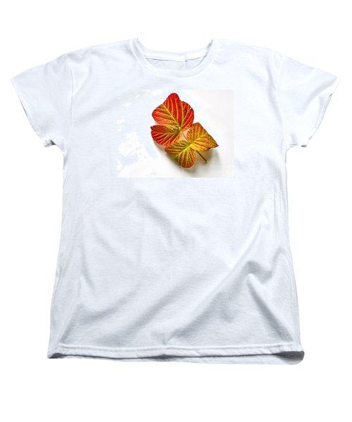 Raspberry Leaves In Autumn Women's T-Shirt (Standard Cut) by Sean Griffin