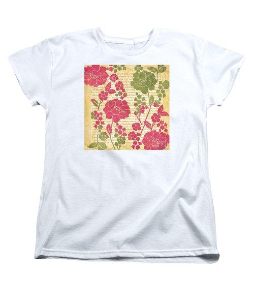 Raspberry Sorbet Floral 2 Women's T-Shirt (Standard Cut) by Debbie DeWitt