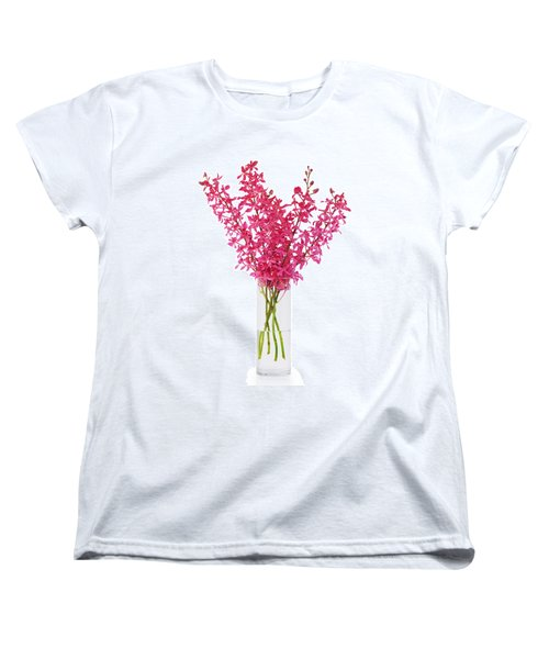 Red Orchid In Vase Women's T-Shirt (Standard Cut) by Atiketta Sangasaeng