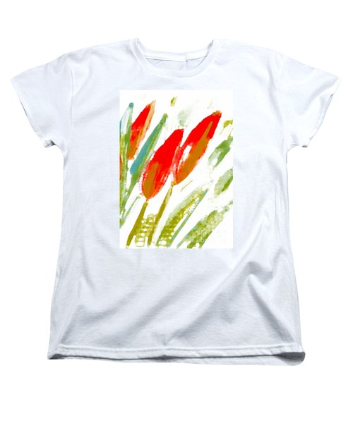 Women's T-Shirt (Standard Cut) featuring the digital art Red Tulips by Barbara Moignard