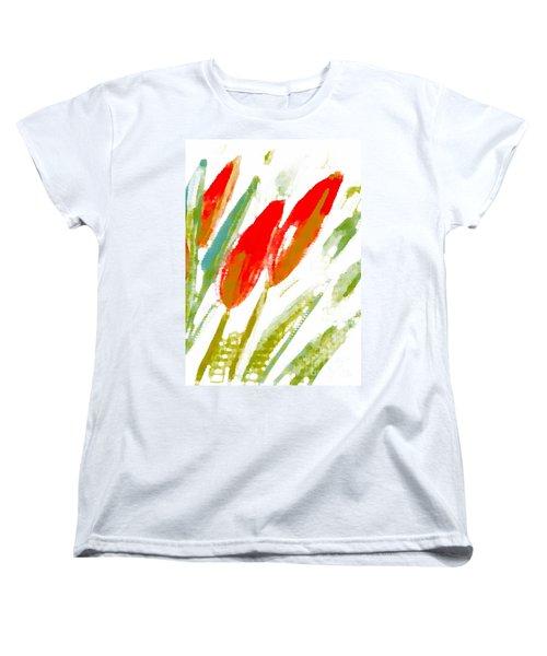 Red Tulips Women's T-Shirt (Standard Cut) by Barbara Moignard