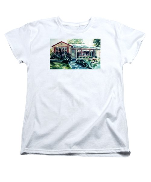 Women's T-Shirt (Standard Cut) featuring the painting Redwood City House #2 by Donald Maier