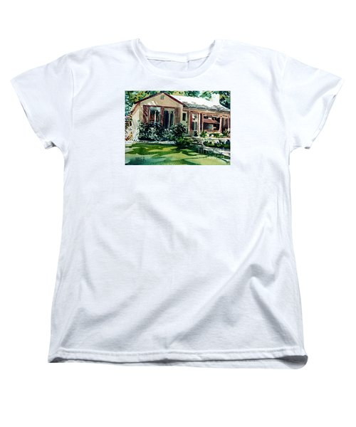 Women's T-Shirt (Standard Cut) featuring the painting Redwood City House #3 by Donald Maier