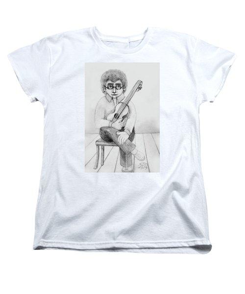 Russian Guitarist Black And White Art Eyeglasses Long Curly Hair Tie Chin Shirt Trousers Shoes Chair Women's T-Shirt (Standard Cut) by Rachel Hershkovitz