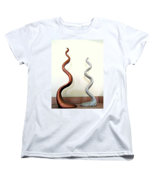 Serpants Duo Pair Of Abstract Snake Like Sculptures In Brown And Spotted White Dancing Upwards Women's T-Shirt (Standard Cut) by Rachel Hershkovitz