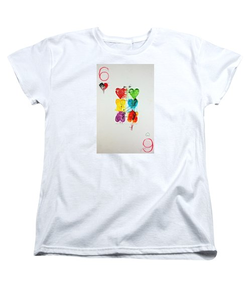 Women's T-Shirt (Standard Cut) featuring the painting Six Of Hearts 2-52  2nd Series  by Cliff Spohn