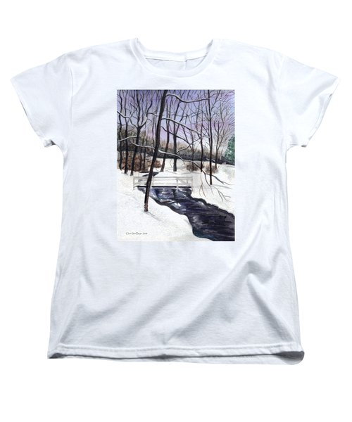 Snowy Shawnee Stream Women's T-Shirt (Standard Cut) by Clara Sue Beym