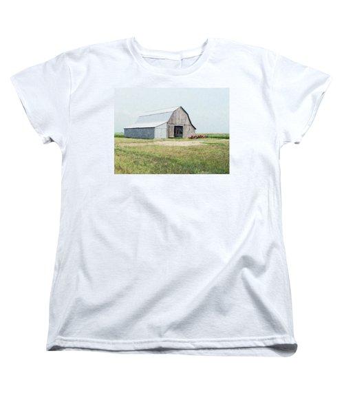 Women's T-Shirt (Standard Cut) featuring the digital art Summer Barn by Debbie Portwood