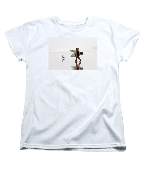 Women's T-Shirt (Standard Cut) featuring the photograph Surfers And A Pelican by Alice Gipson