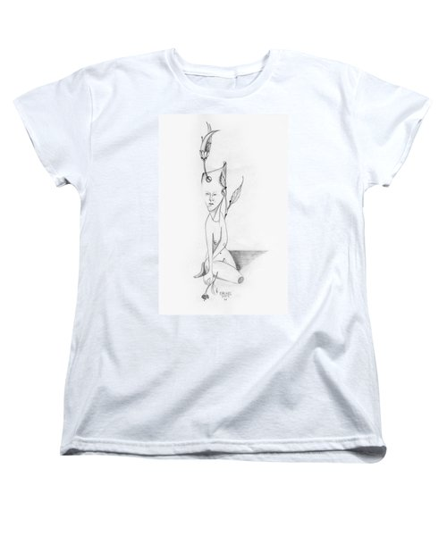 Surreal Woman With Plant And Flower Growing Through Her Women's T-Shirt (Standard Cut) by Rachel Hershkovitz