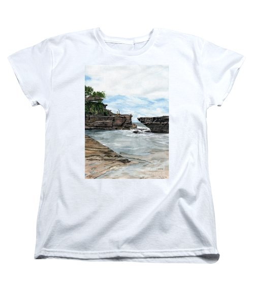 Women's T-Shirt (Standard Cut) featuring the painting Tanah Lot Temple II Bali Indonesia by Melly Terpening