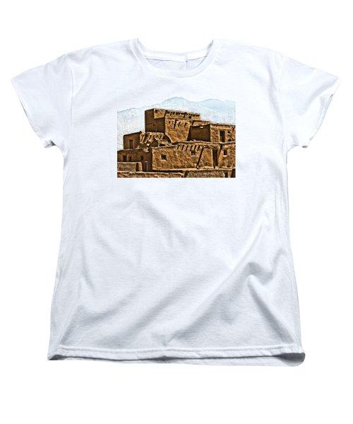 Taos Pueblo Women's T-Shirt (Standard Cut) by John Hansen