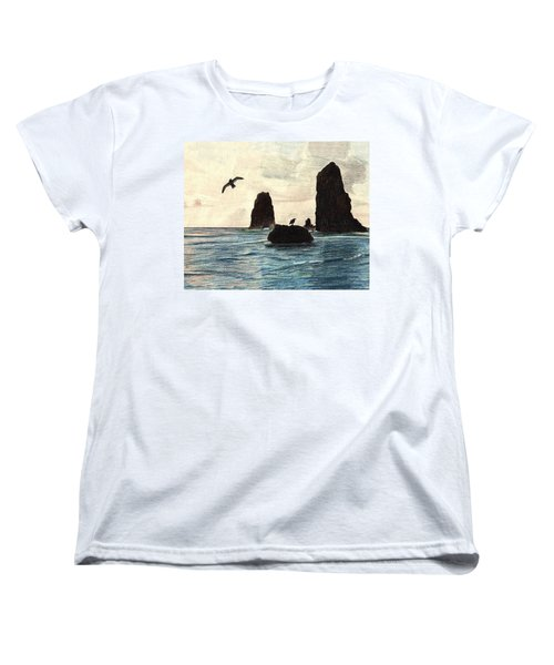 Women's T-Shirt (Standard Cut) featuring the drawing The Needles by Wendy McKennon