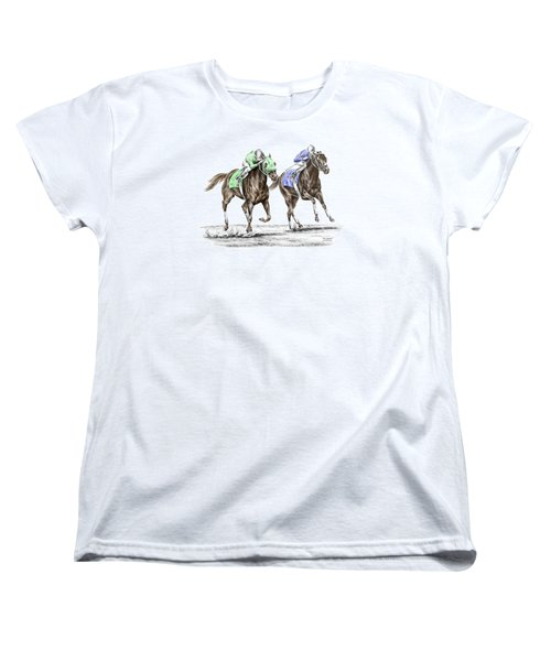 Women's T-Shirt (Standard Cut) featuring the drawing The Stretch - Tb Horse Racing Print Color Tinted by Kelli Swan