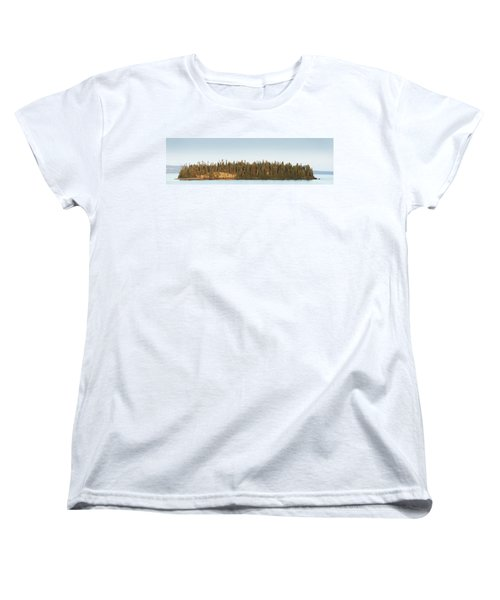 Trees Covering An Island On Lake Women's T-Shirt (Standard Cut) by Susan Dykstra