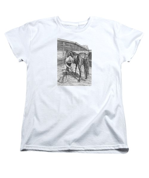 Trim And Fit - Farrier With Horse Art Print Women's T-Shirt (Standard Cut) by Kelli Swan