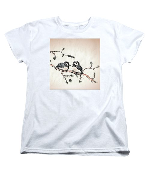 Women's T-Shirt (Standard Cut) featuring the drawing Two Birds by Wendy McKennon