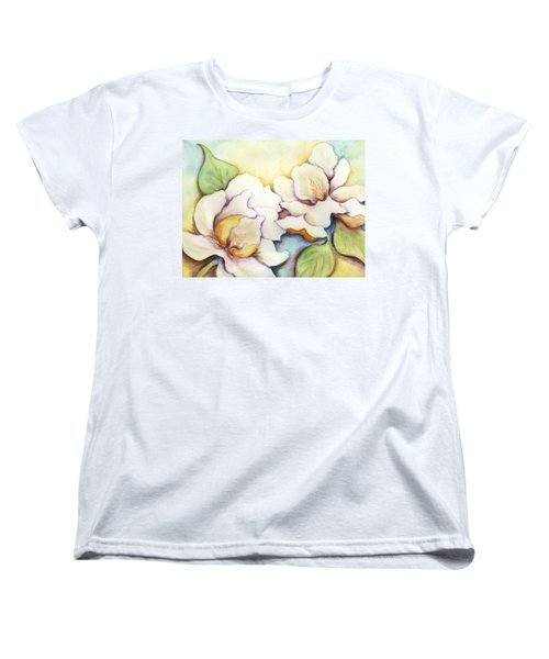 Women's T-Shirt (Standard Cut) featuring the painting Two Magnolia Blossoms by Carla Parris