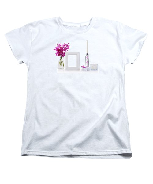 White Picture Frame In Decoration Women's T-Shirt (Standard Cut) by Atiketta Sangasaeng