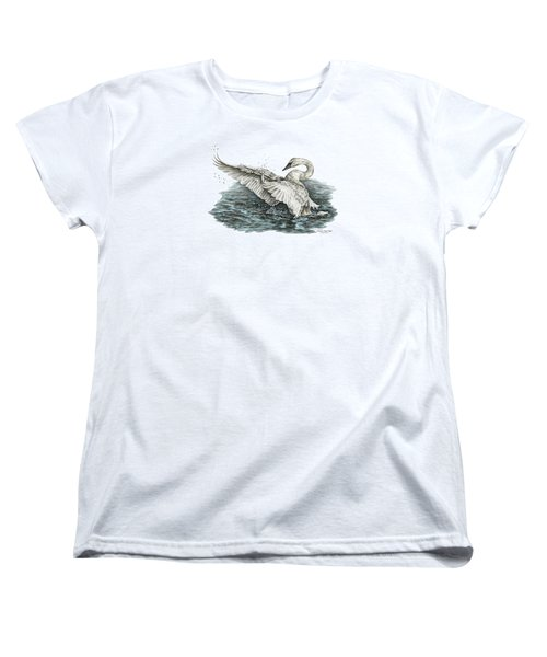 Women's T-Shirt (Standard Cut) featuring the drawing White Swan - Dreams Take Flight-tinted by Kelli Swan