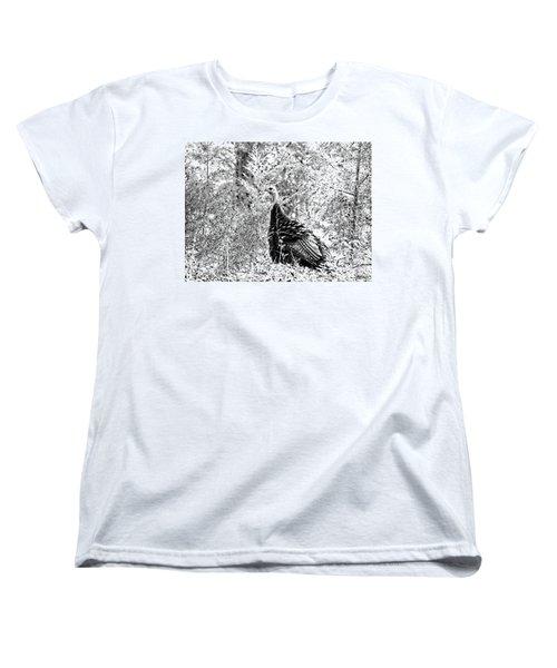 Wild Turkey In Black And White Women's T-Shirt (Standard Cut) by Maciek Froncisz