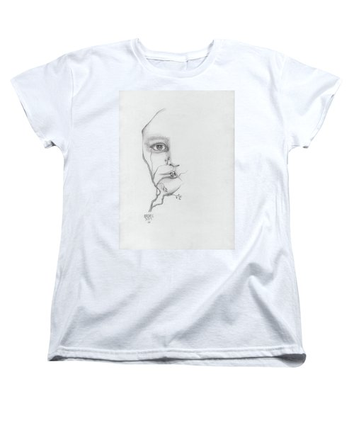 Woman Face Growing Out Of A Tree Branch Black And White Surrealistic Fantasy  Women's T-Shirt (Standard Cut) by Rachel Hershkovitz