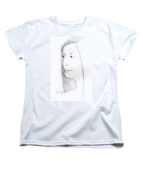 Woman In Black And White Long Hair Red Lips And Shoulders  Women's T-Shirt (Standard Cut) by Rachel Hershkovitz
