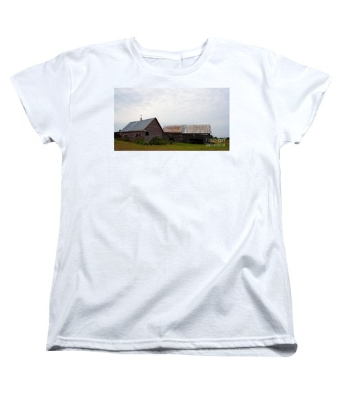 Women's T-Shirt (Standard Cut) featuring the photograph Wood And Log Sheds by Barbara McMahon