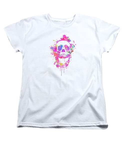 Cool And Trendy Pink Watercolor Skull Women's T-Shirt (Standard Cut)