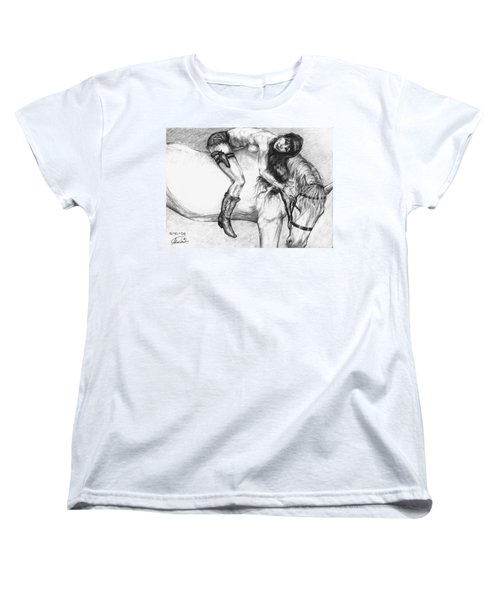 Cowgirl Riding A Hourse Women's T-Shirt (Standard Cut) by Alban Dizdari