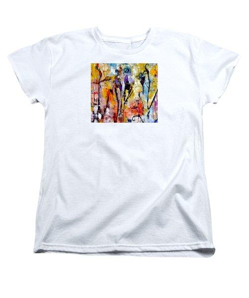Crazy Messy Fall Yard Art Women's T-Shirt (Standard Cut) by Lisa Kaiser