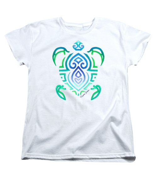 Tribal Turtle Women's T-Shirt (Standard Cut) by Heather Schaefer