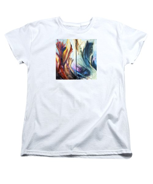 01321 Fire And Waves Women's T-Shirt (Standard Cut) by AnneKarin Glass