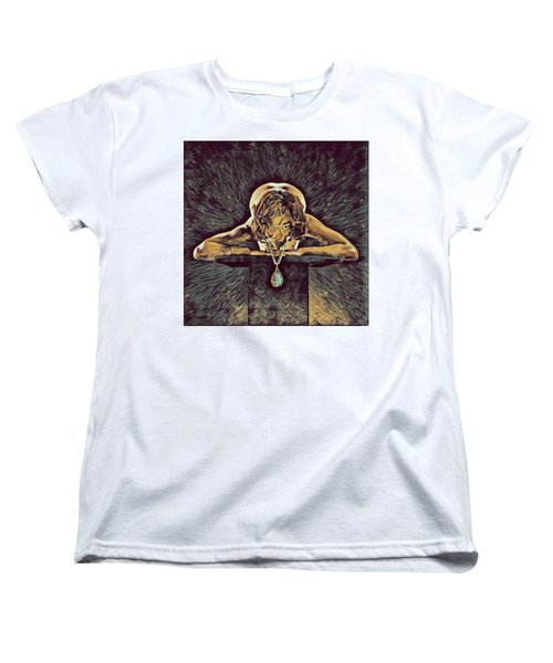 0756s-zac Nude Woman With Amulet On Tall Pedestal  Women's T-Shirt (Standard Cut)