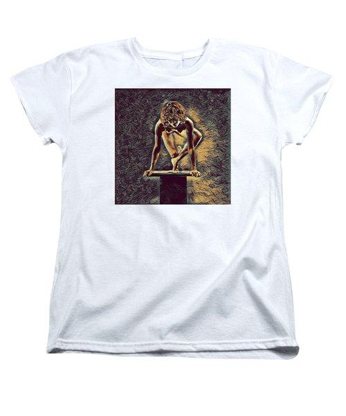 0948s-zak Dancer Balanced On Pedestal In The Style Of Antonio Bravo  Women's T-Shirt (Standard Cut) by Chris Maher