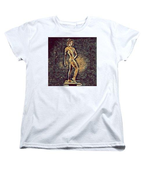 0957s-zac Fit Black Dancer Standing On Platform Women's T-Shirt (Standard Cut) by Chris Maher