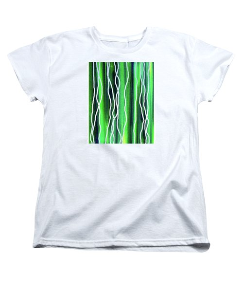 Abstract Lines On Green Women's T-Shirt (Standard Cut) by Irina Sztukowski