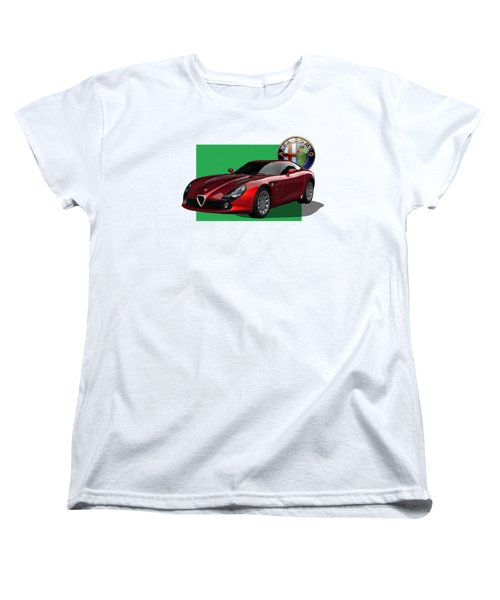 Alfa Romeo Zagato  T Z 3  Stradale With 3 D Badge  Women's T-Shirt (Standard Cut) by Serge Averbukh