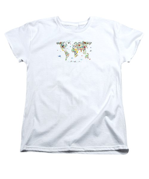 Animal Map Of The World For Children And Kids Women's T-Shirt (Standard Cut) by Michael Tompsett